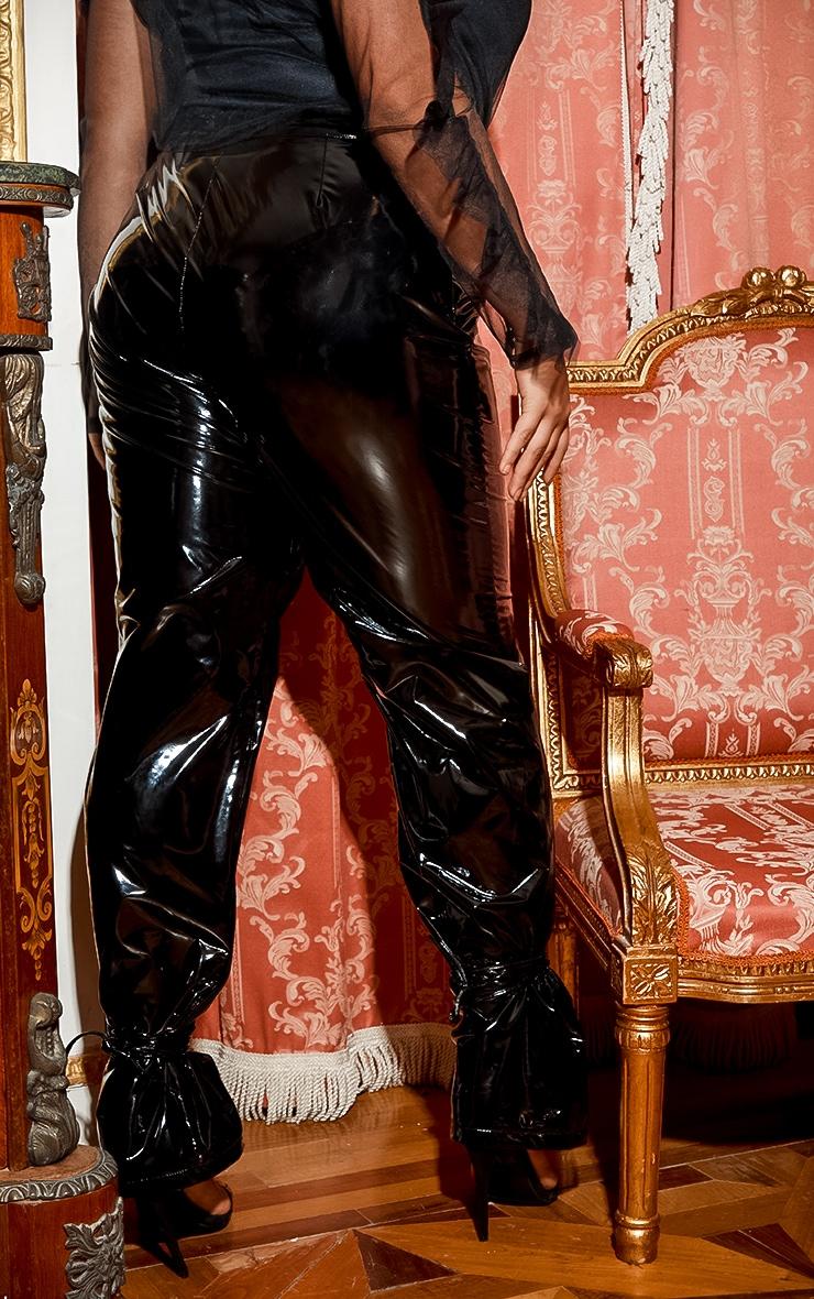 Plus Black Vinyl Lace Up Pants 5