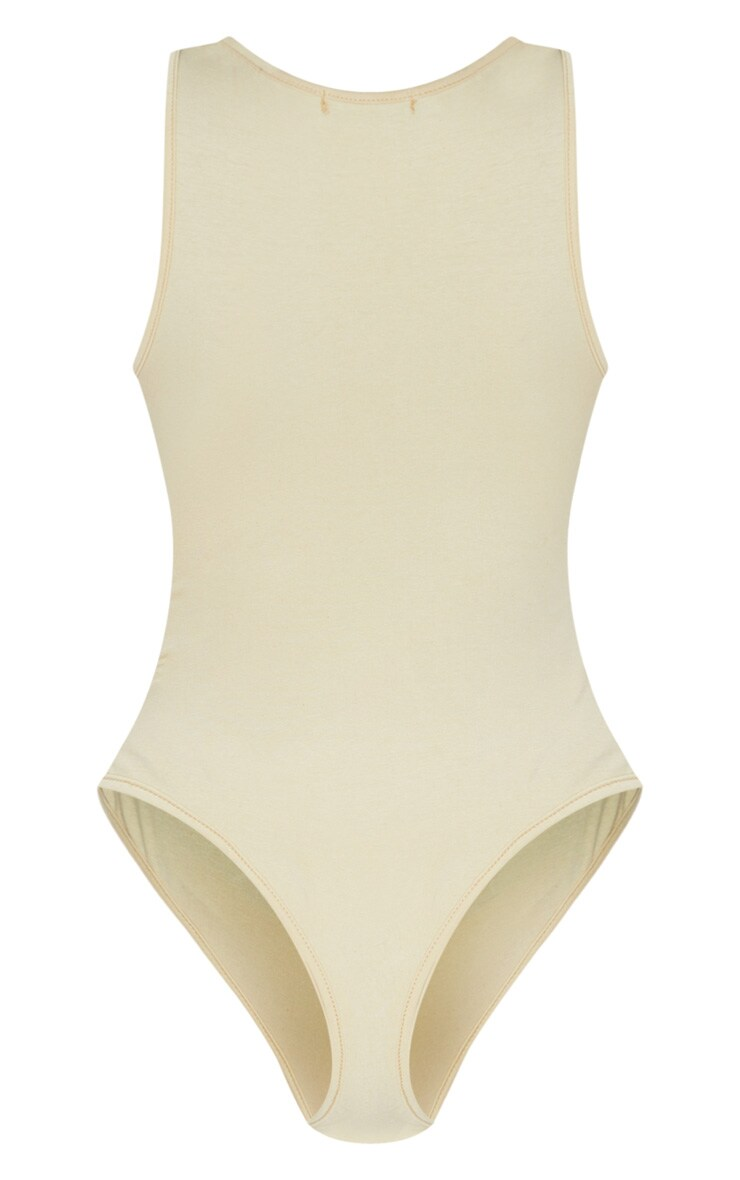 Sand Cotton Sleeveless Scoop Neck Bodysuit 4