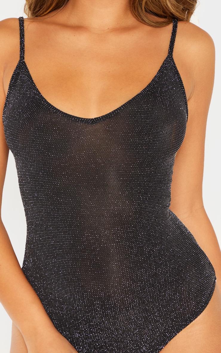 Body bretelles noir en paillettes texturées 5