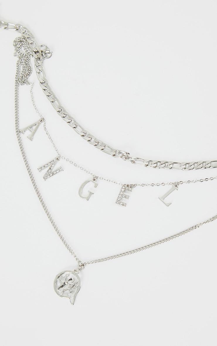Silver Diamante Angel Layering Necklace 3