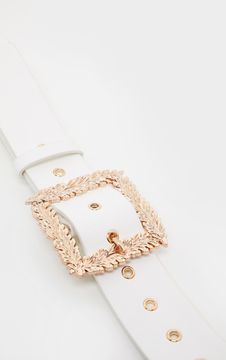 White Leaf Buckle Effect Waist Belt 2