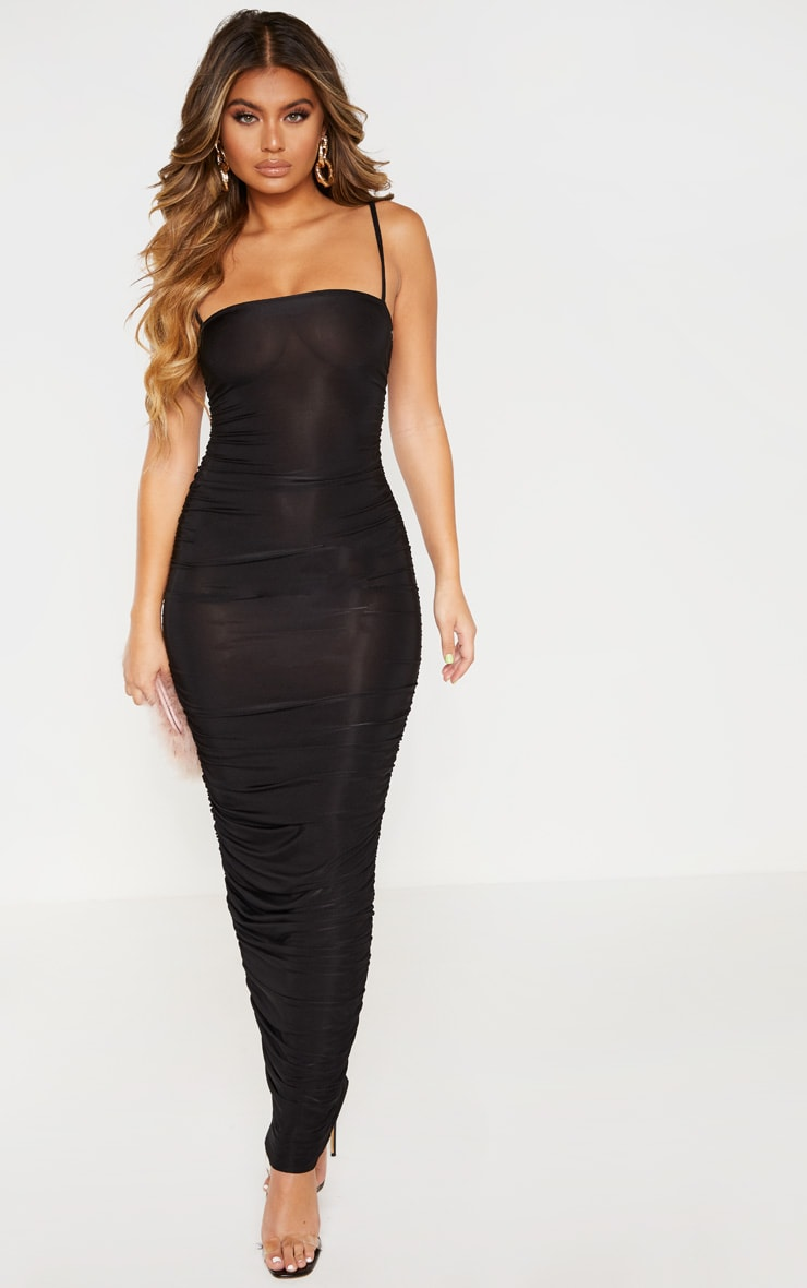 Black Strappy Slinky Ruched Back Maxi Dress 1