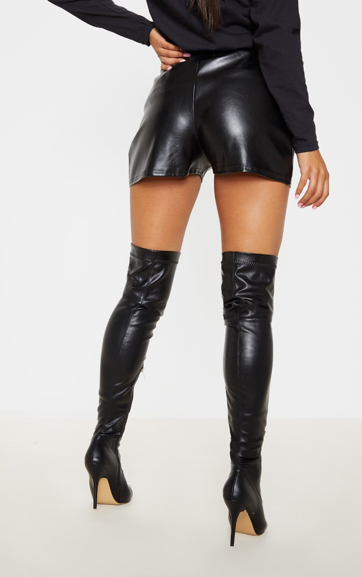 Black Faux Leather Runner Shorts 4