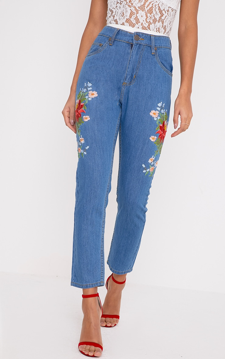 Mid Wash Floral Embroidered Slim Mom Fit Jean 5