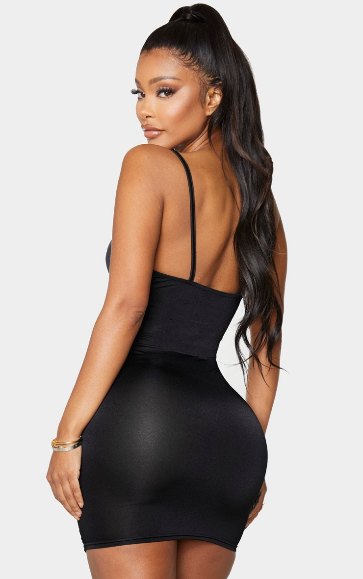 Shape Black Slinky Ruched Front Strappy Bodycon Dress 2