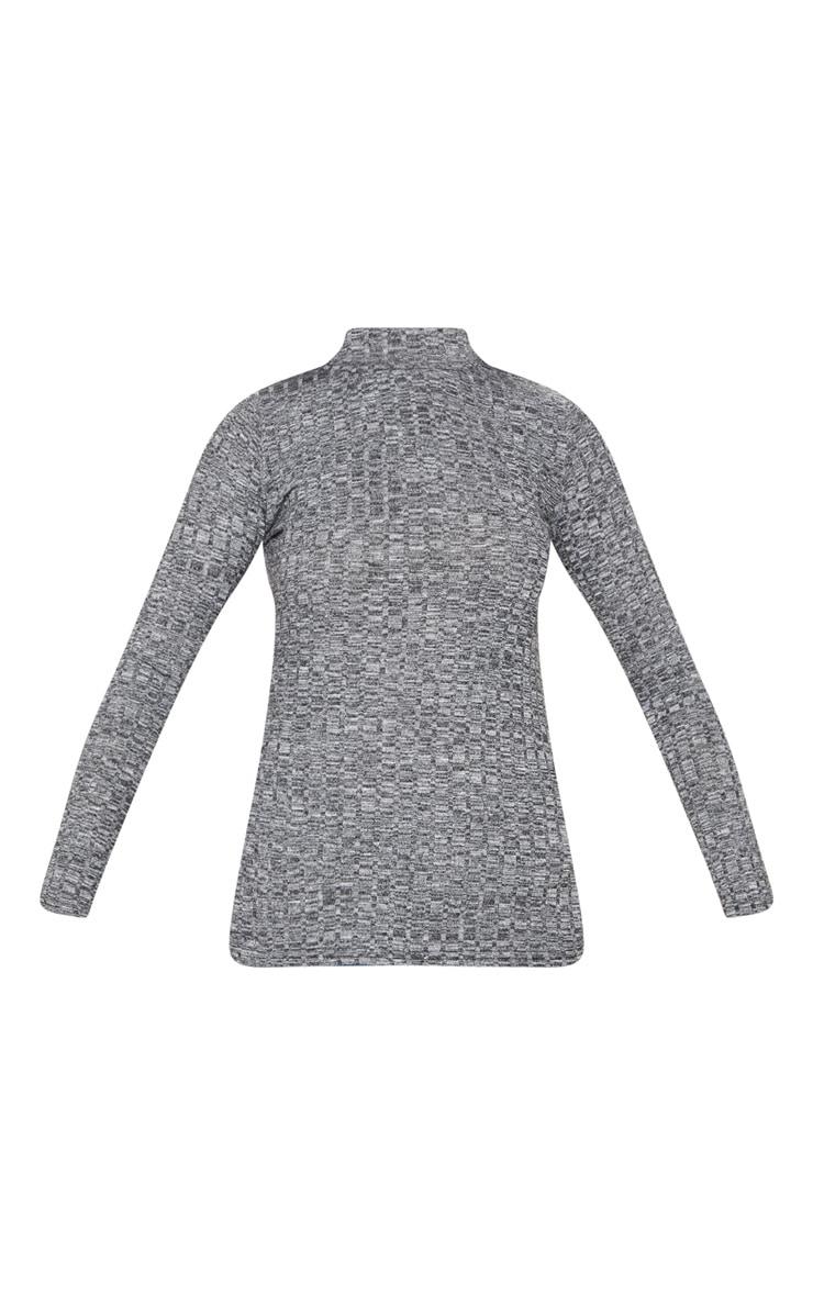 Grey High Neck Long Sleeve Top 3