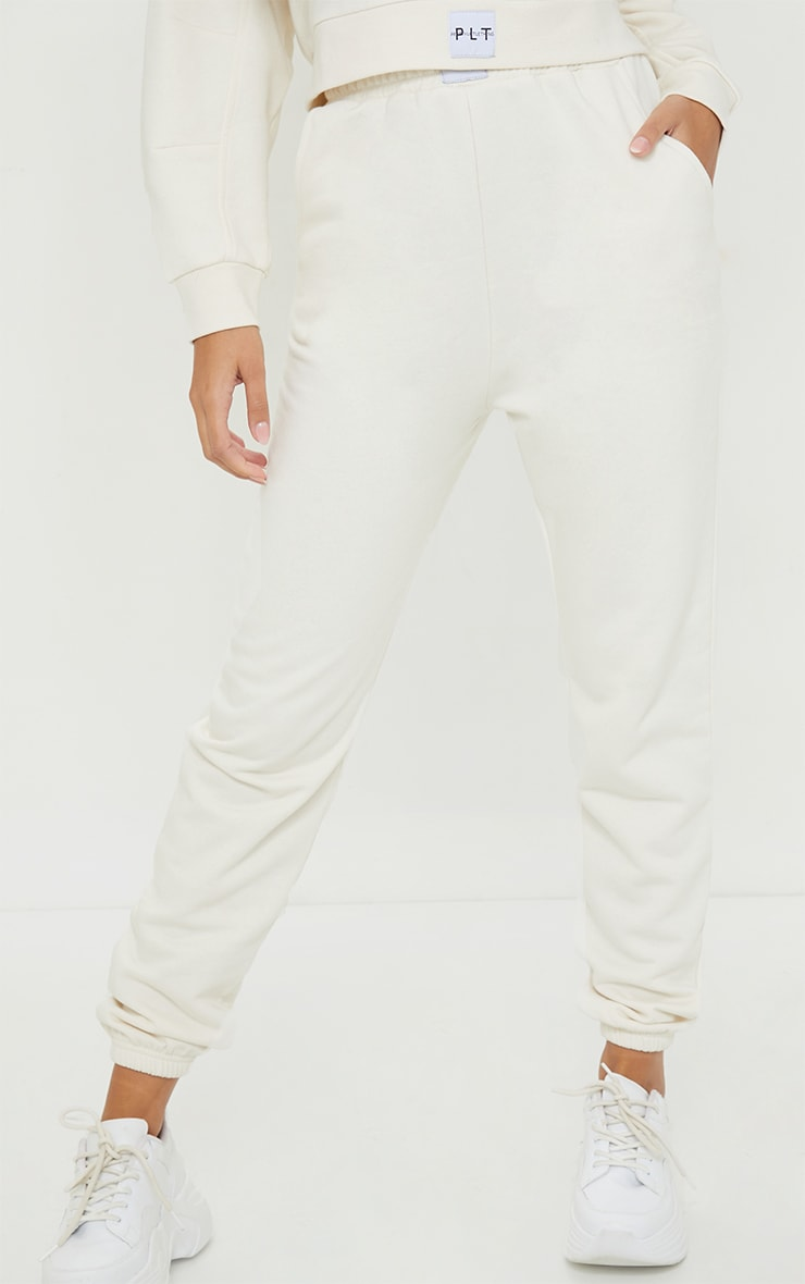 PRETTYLITTLETHING Cream Badge Detail Cuffed Joggers 2