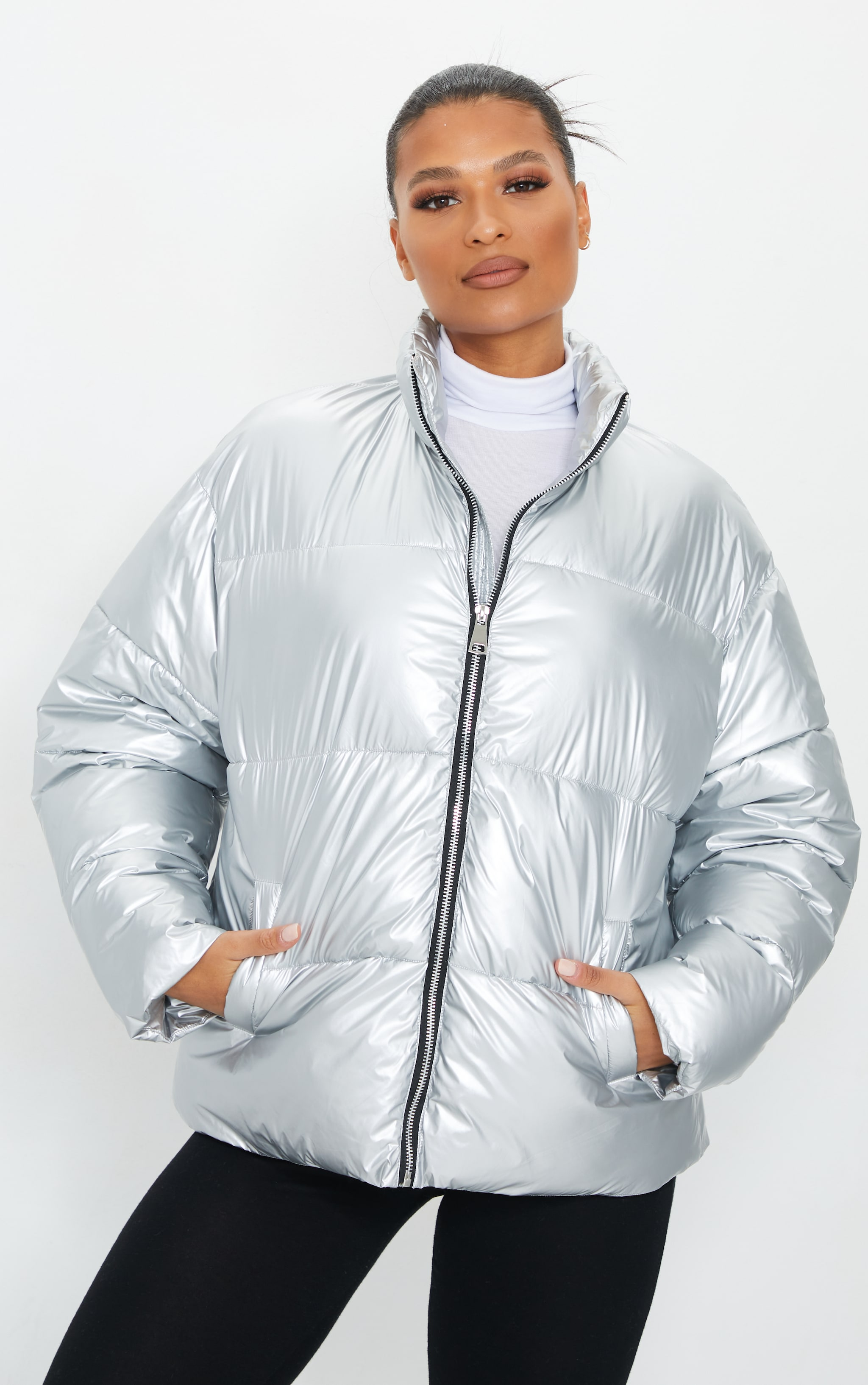 PRETTYLITTLETHING Silver Zip Back Oversized Puffer Jacket 5