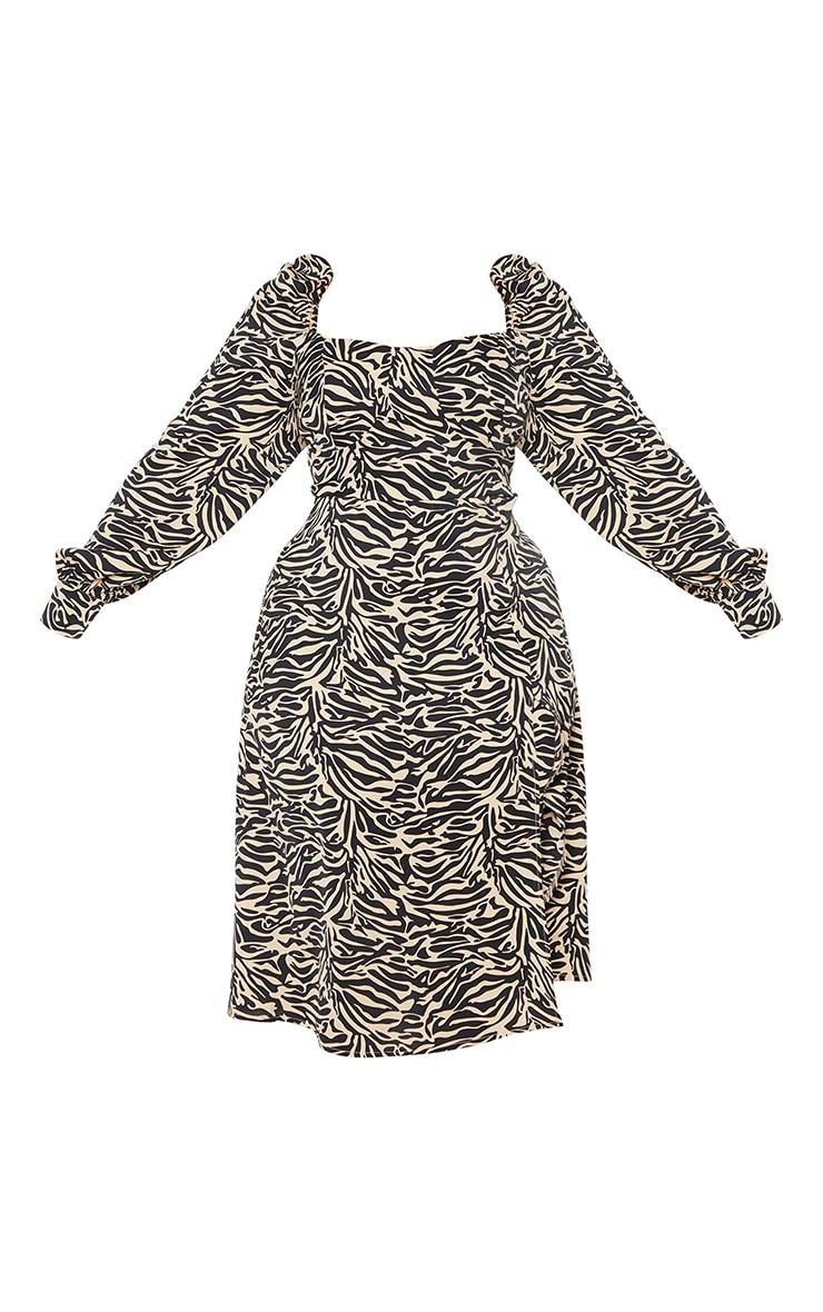 Plus Beige Tiger Puff Sleeve Midi Dress 5
