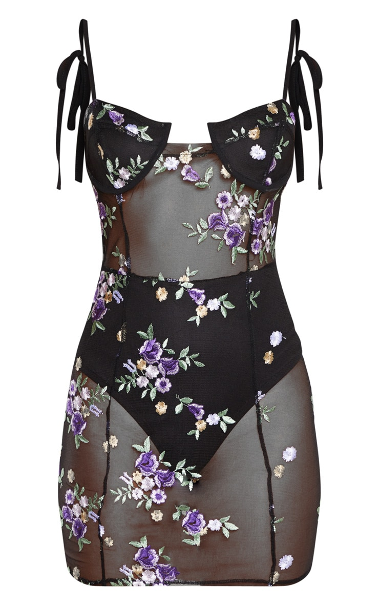 Black Mesh Floral Embroidered Strappy Bodycon Dress 3