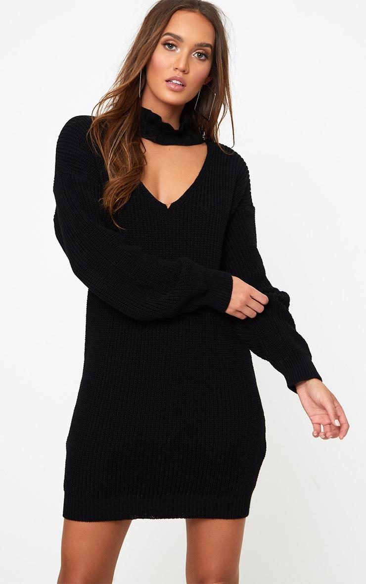 Robe mini ras du cou noire tricotée à volants 1