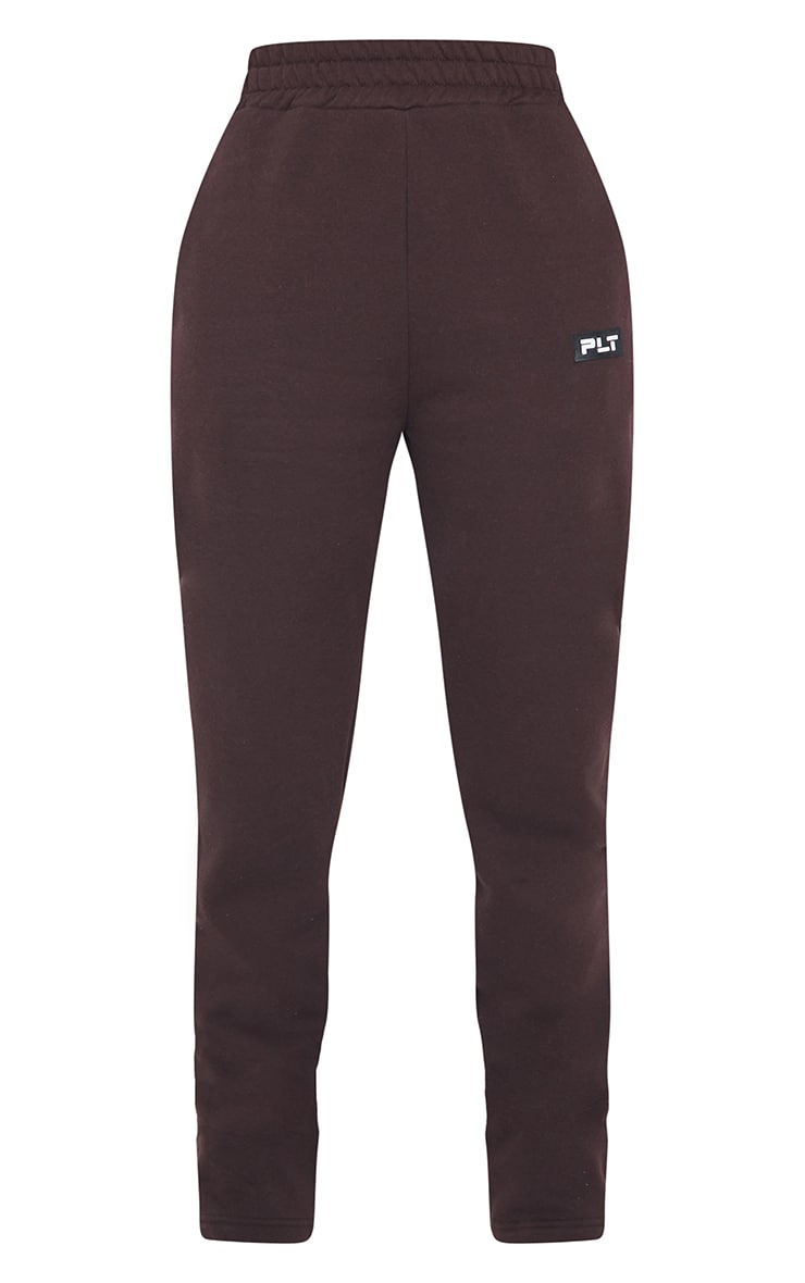 PRETTYLITTLETHING Tall Chocolate Badge Detail Straight Leg Joggers 5