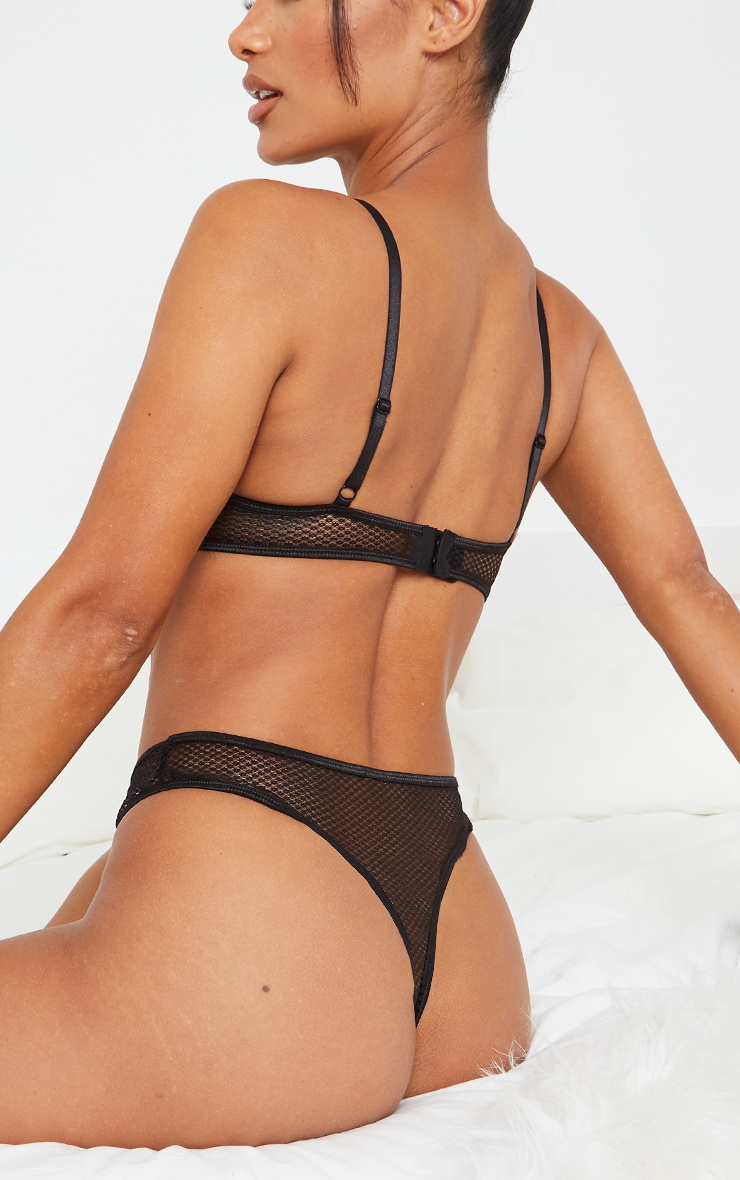 Black Lace Front Panel Fishnet Thong 2