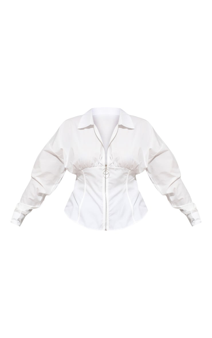 Plus White Zip Corset Detail Shirt 3