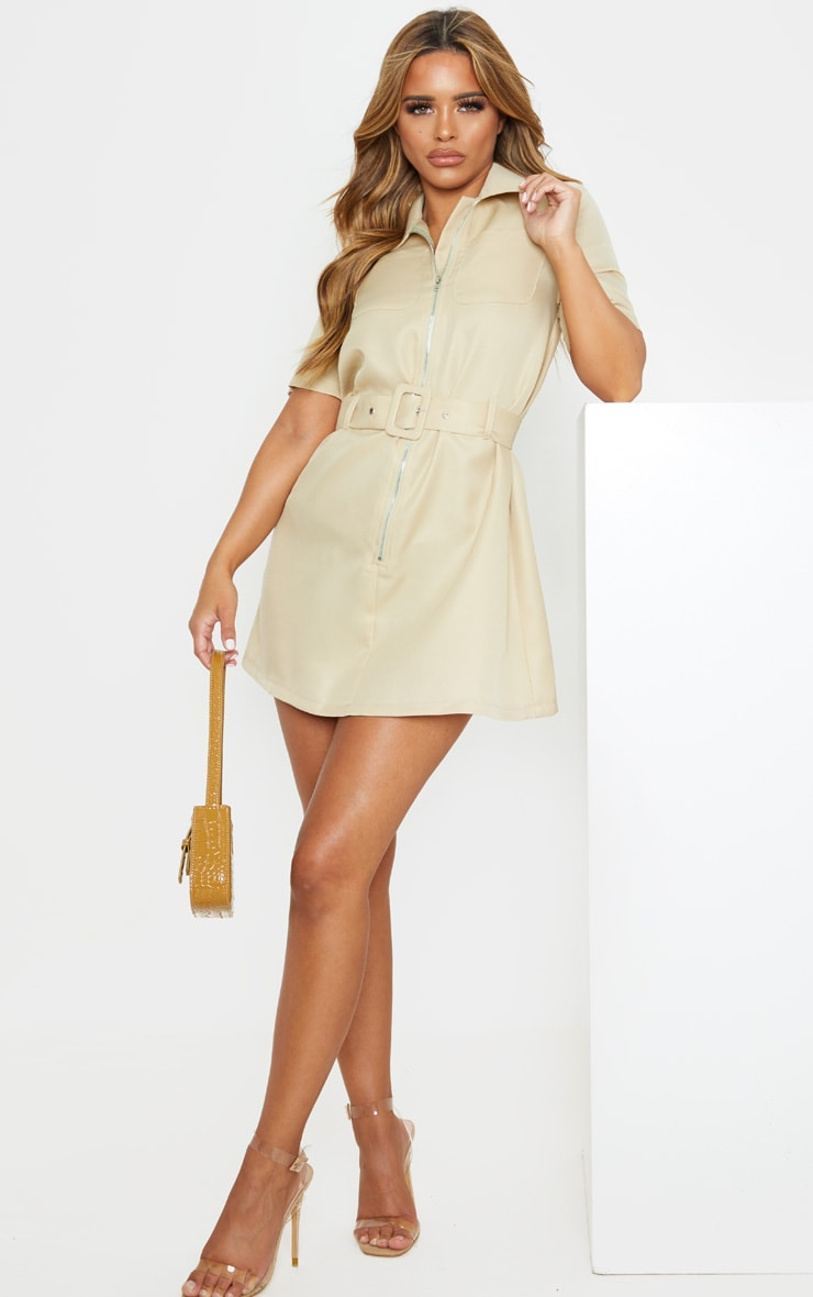 Petite Stone Zip Detail Belted Utility Dress 4