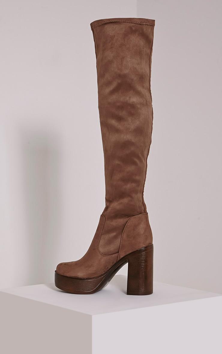 Denney Mocha Faux Suede Platform Over The Knee Boots 4
