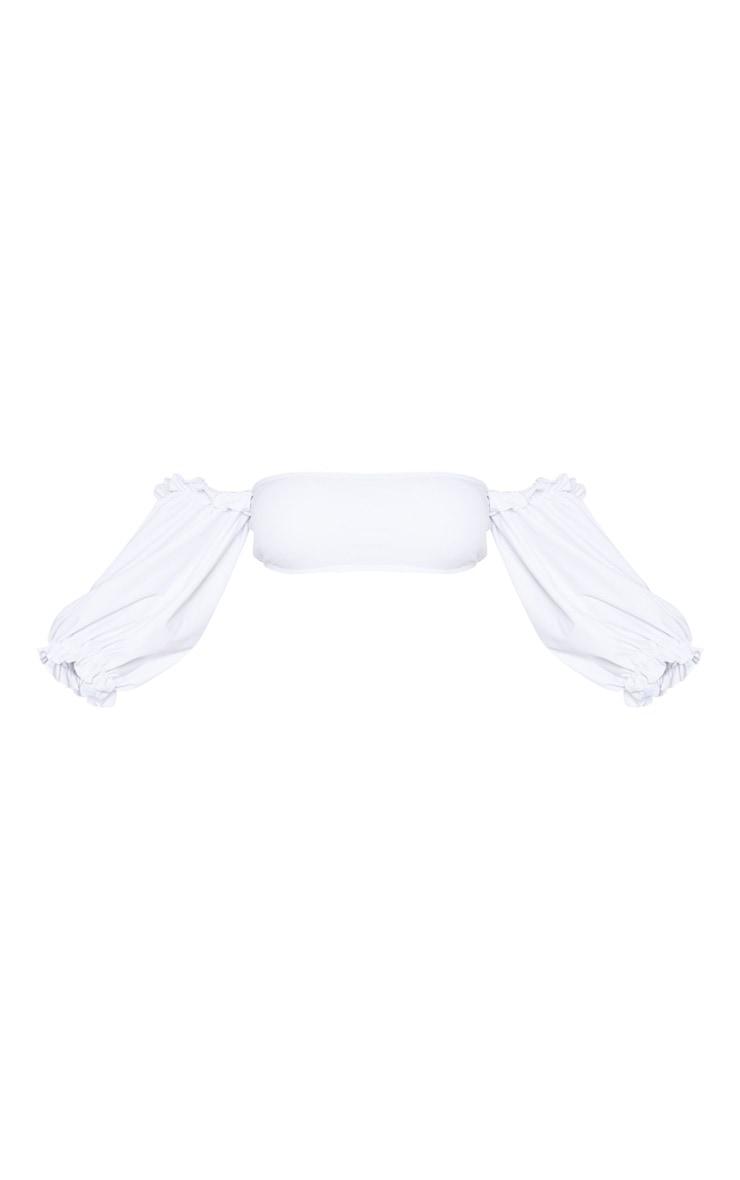 Top de bikini blanc à manches bouffantes 3/4 et col bateau 3