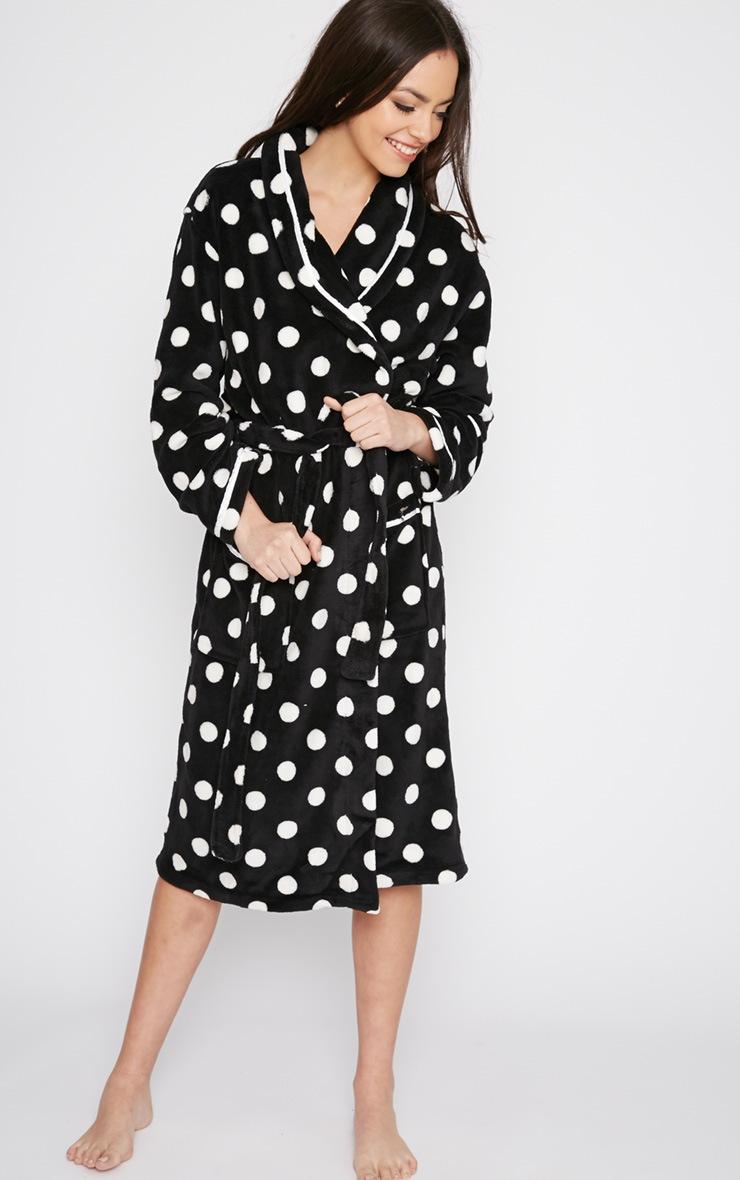 Farri Monochrome Spotty Fleece Dressing Gown  4