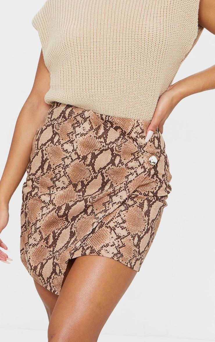 Brown Snake Print Wrap Mini Skirt 5