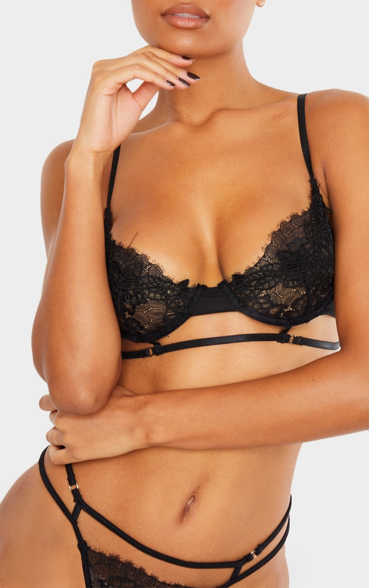 Black Embroidered Lace Detail Strappy Lingerie Set 4