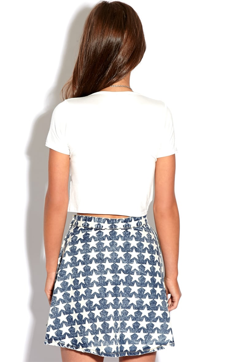 Safaia Acid Wash Blue Denim Skater Skirt With Star Detail  4