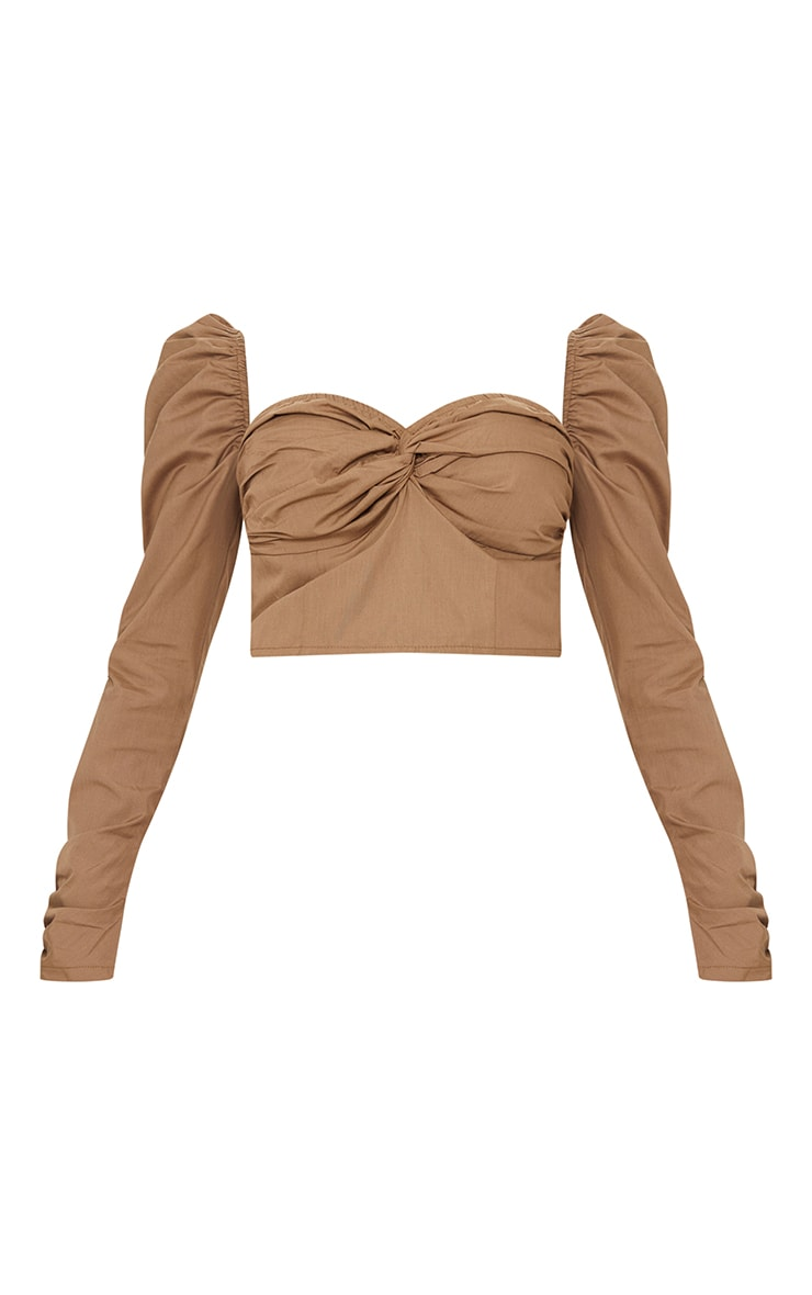 Camel Woven Ruched Front Square Neck Crop Top 5