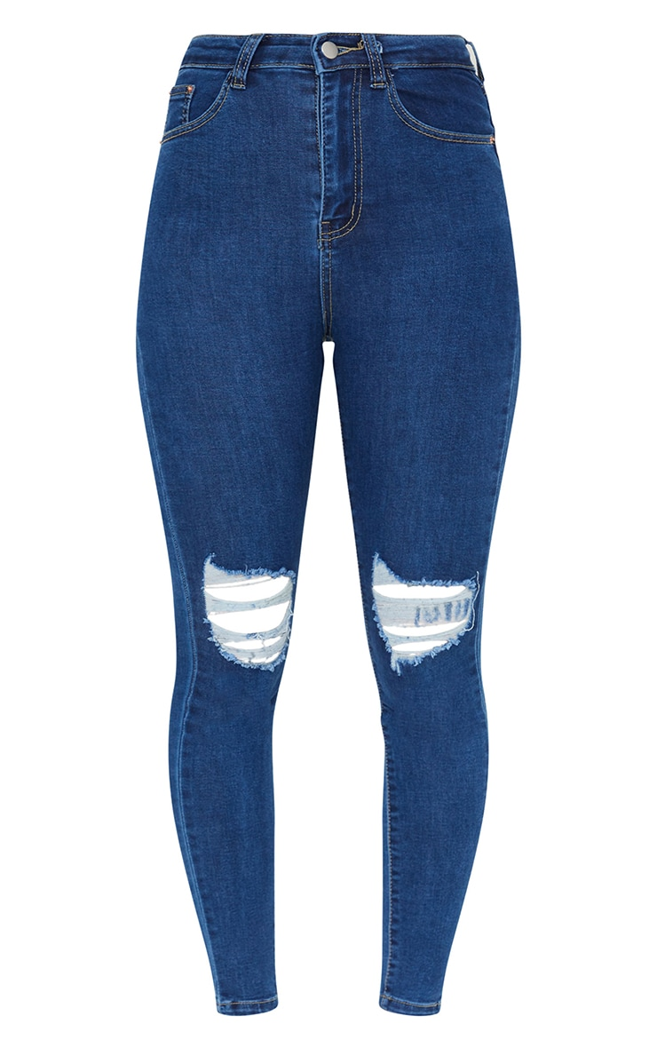 PRETTYLITTLETHING Mid Blue Knee Rip 5 Pocket Skinny Jean 5