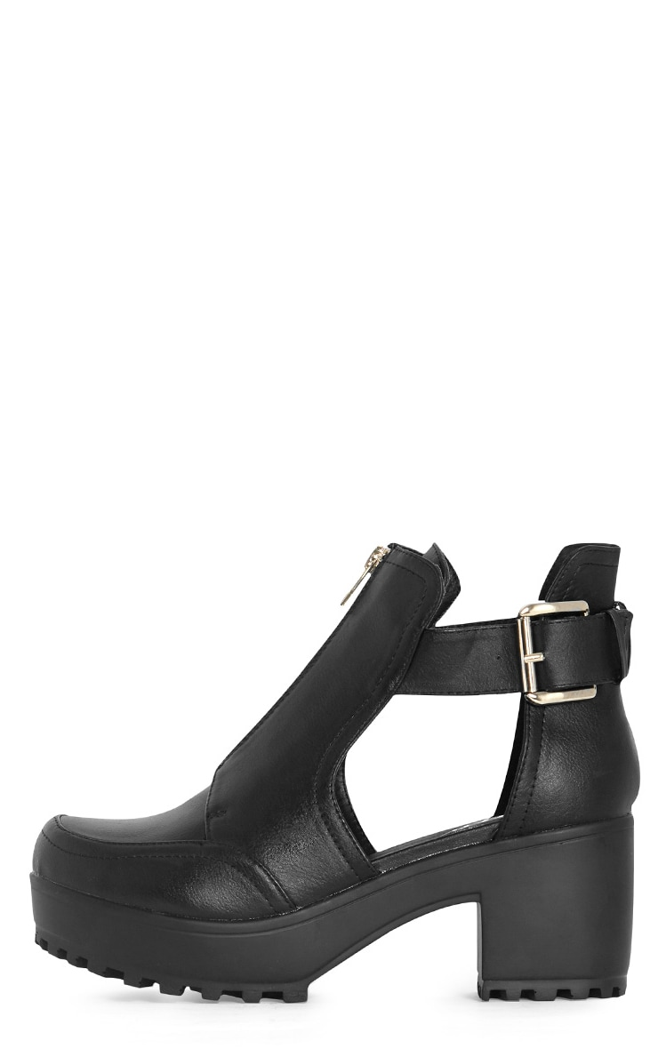 Judith Black Cut Out Zip Up Ankle Boot 1