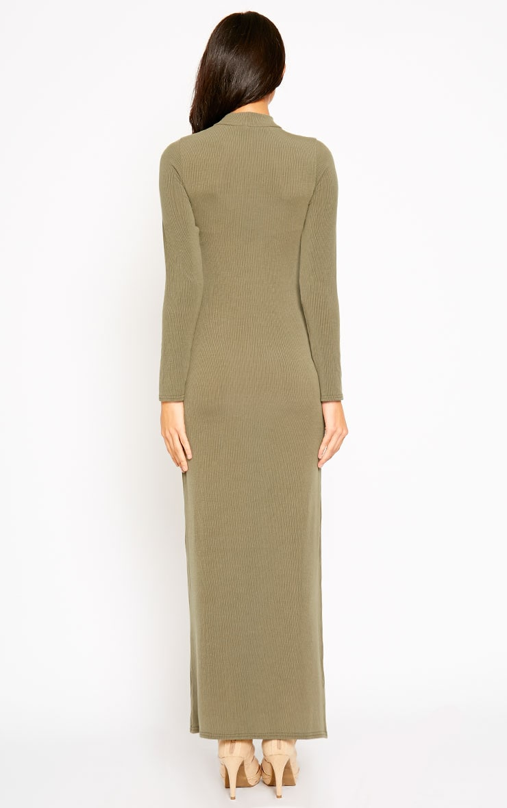 Basic Khaki Turtle Neck Maxi Dress 2