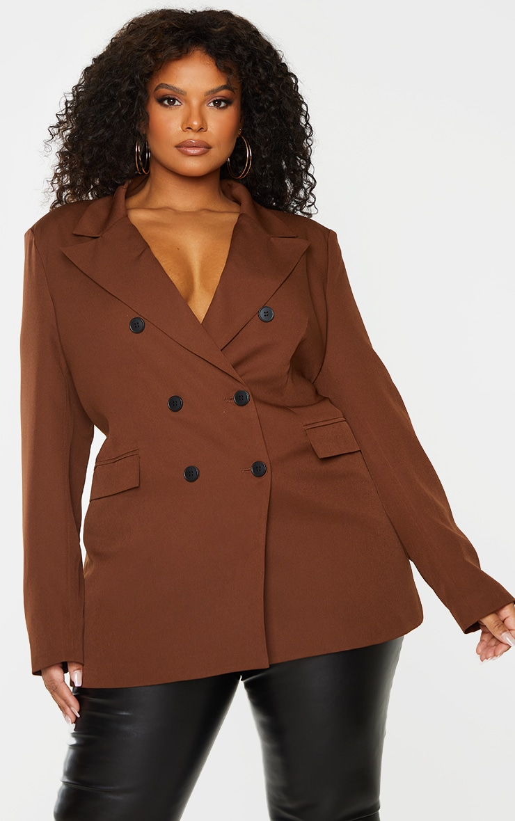 Plus Chocolate Brown Double Breasted Blazer 1