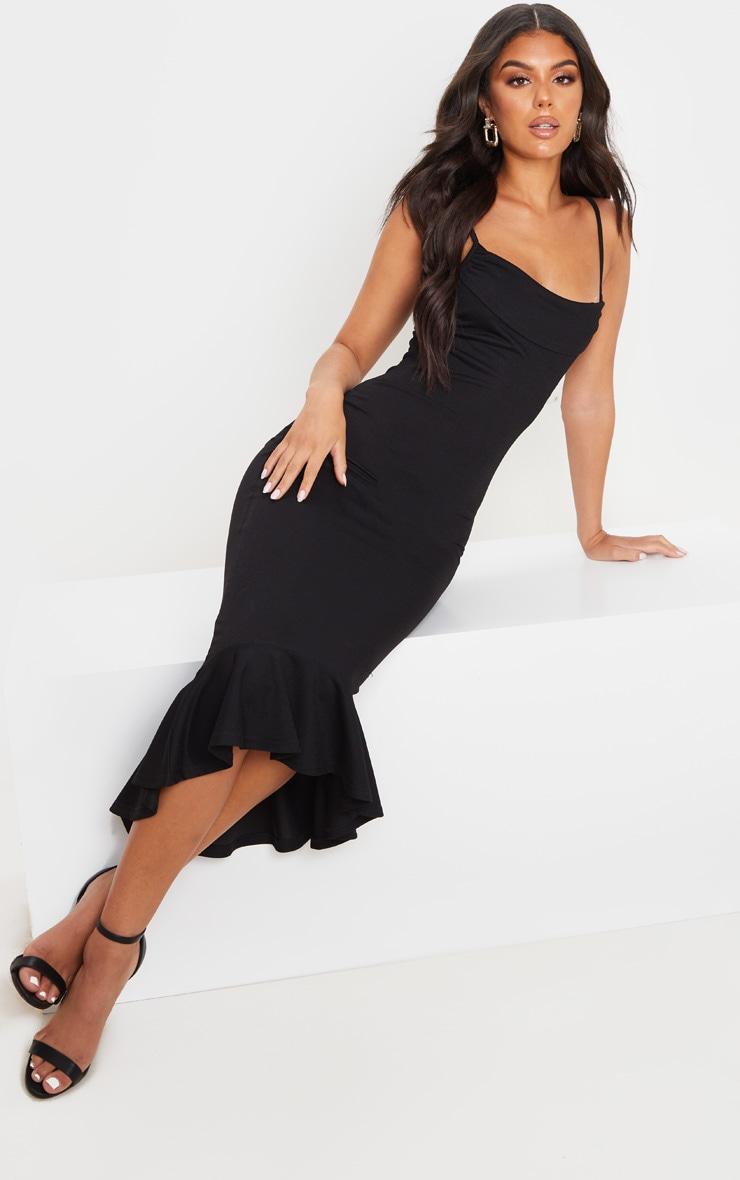 Black Crepe Cowl Frill Hem Midi Dress 1