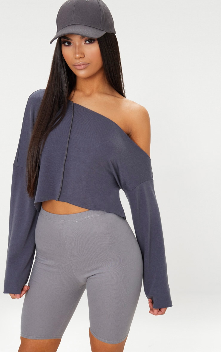 Charcoal Blue Off Shoulder Sweater 5