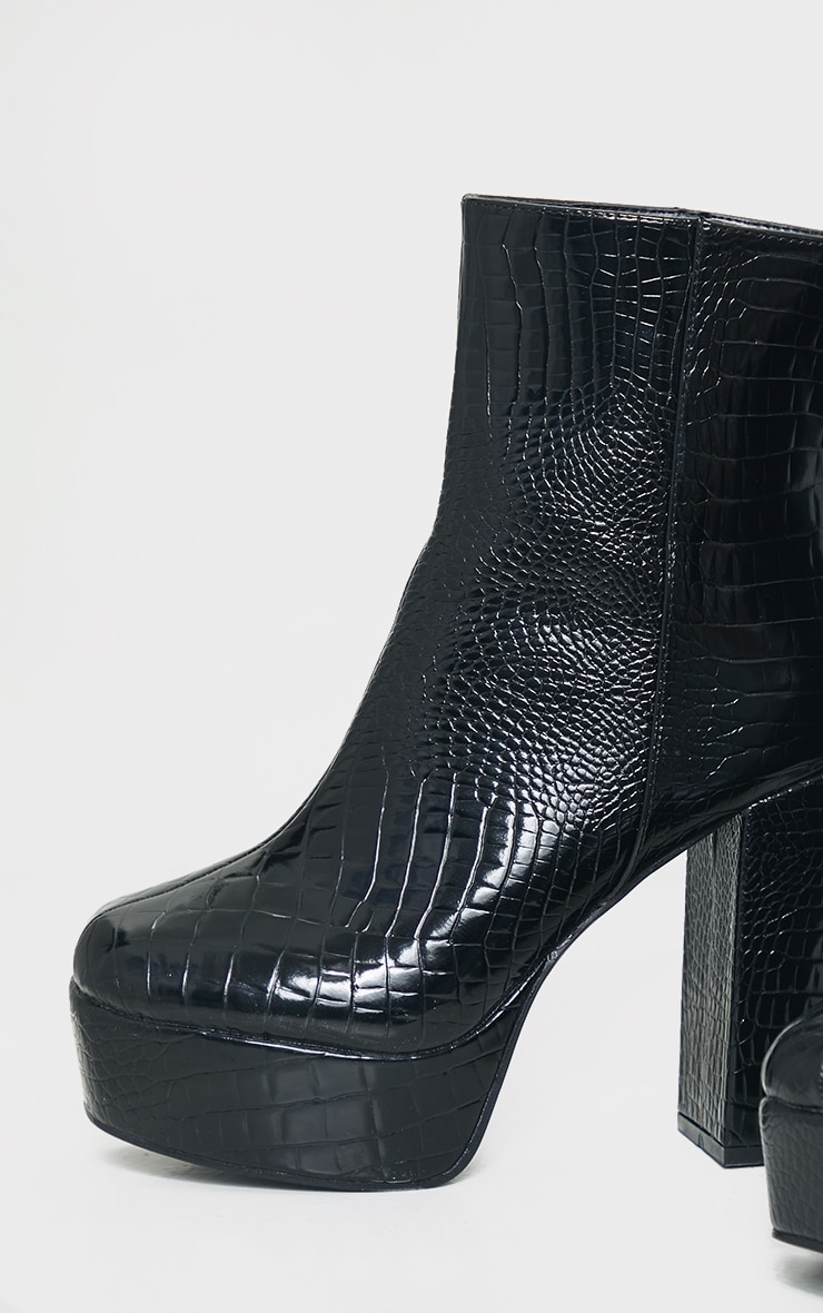 Black Croc Pu Extreme Platform Ankle Boot 4