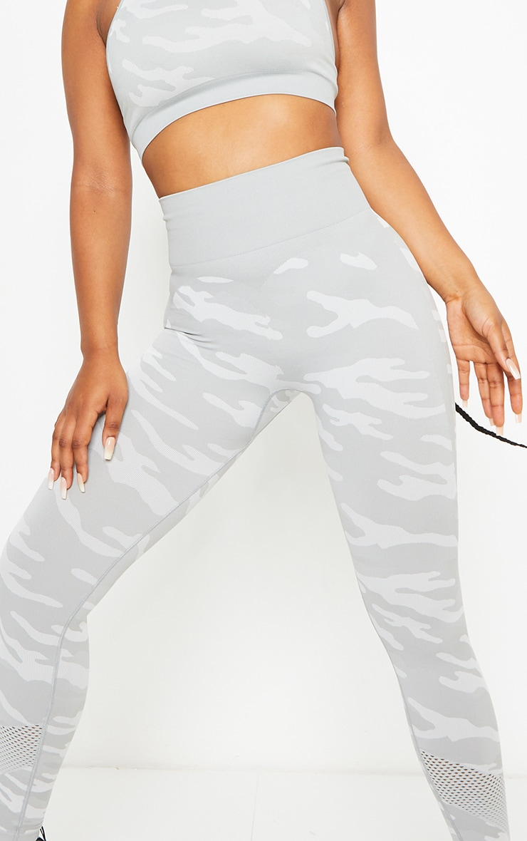 Grey Camo Seamless Gym Leggings 4