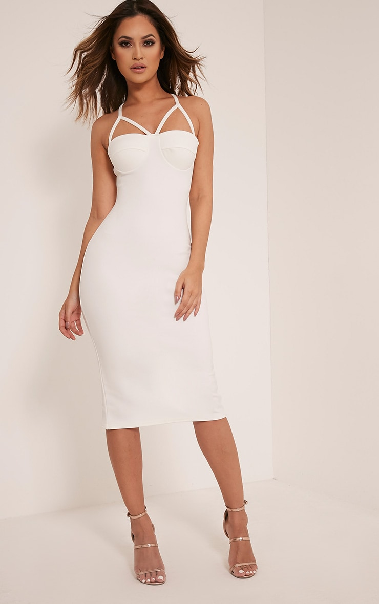 Phiona Cream Crepe Harness Detail Midi Dress 1