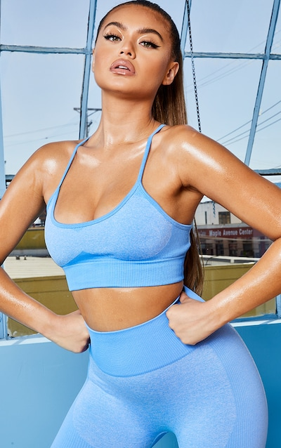 Blue Seamless Long Line Sports Bra Top