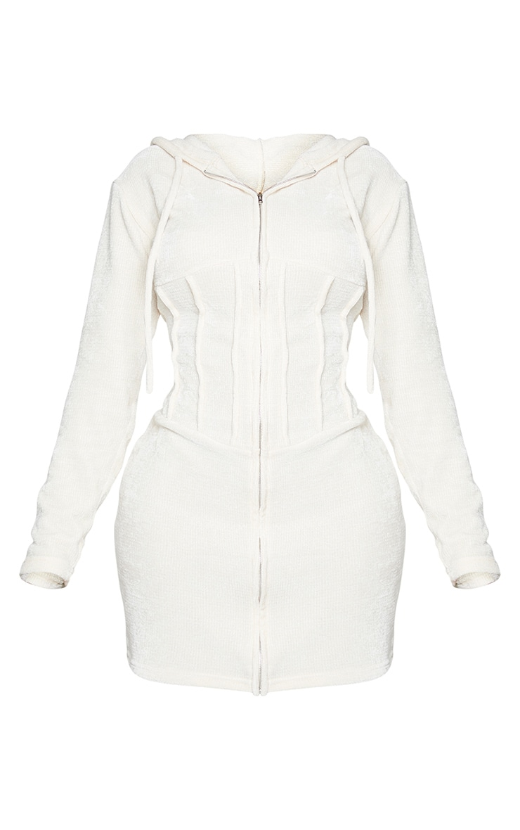 Shape Cream Rib Velour Corset Detail Hooded Bodycon Dress 5