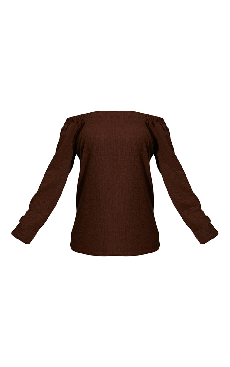 Chocolate Brown Soft Brushed Rib Bardot Sweater 5