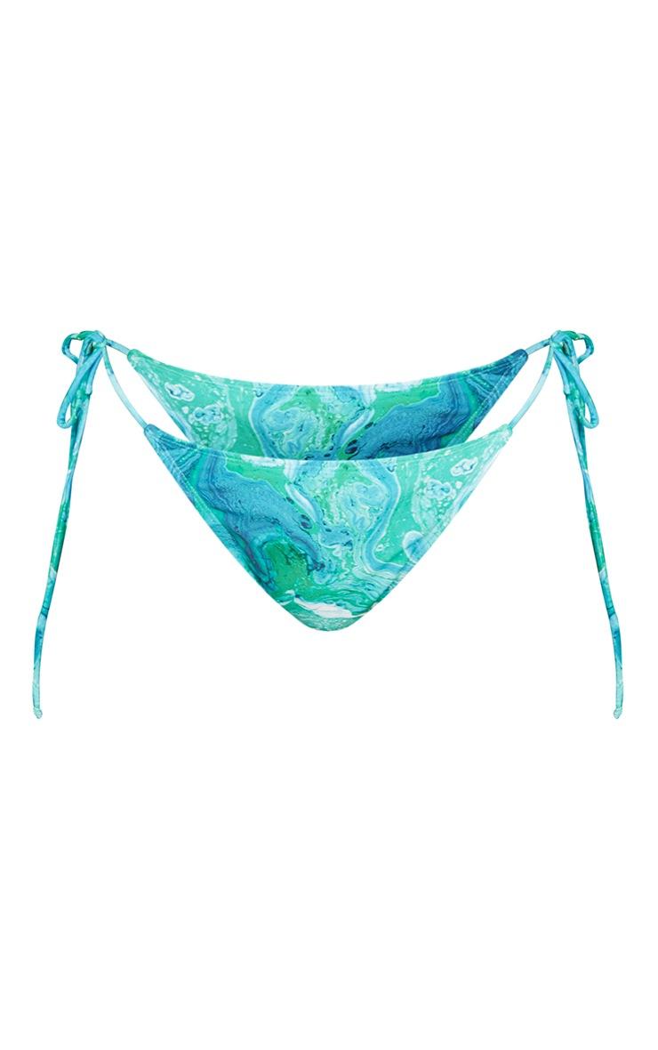 Green Marble Tie Side Bikini Bottoms 5