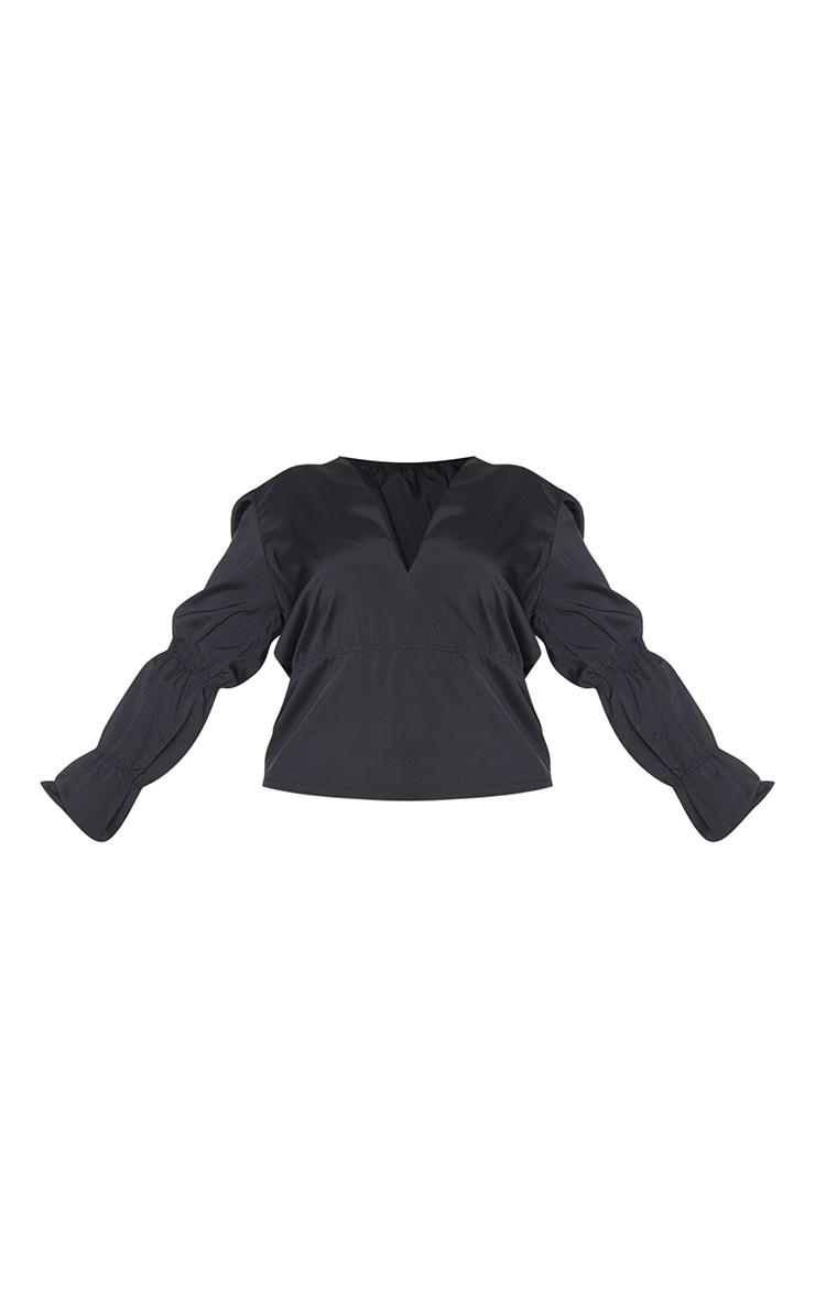 Plus Black Tiered V Neck Long Sleeve Blouse 5