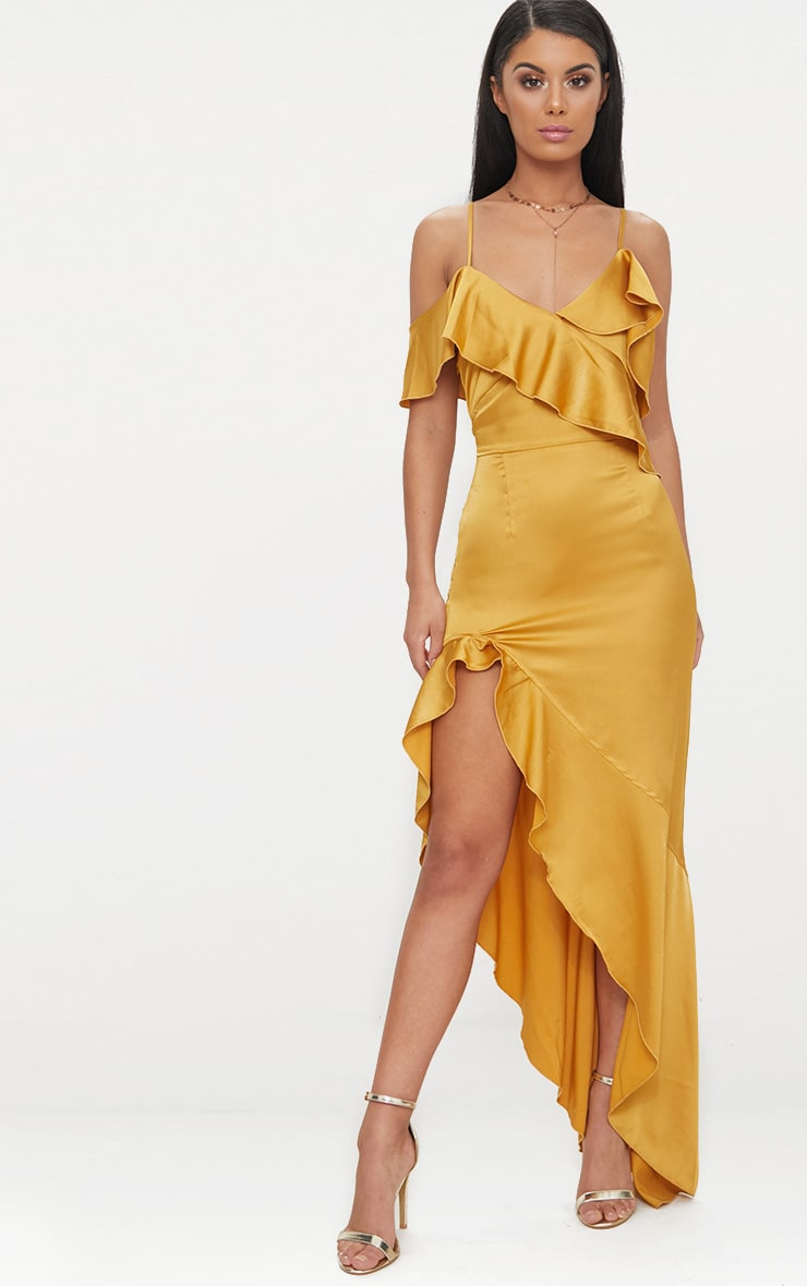 Mustard  Satin Asymmetric Hem Maxi Dress  1