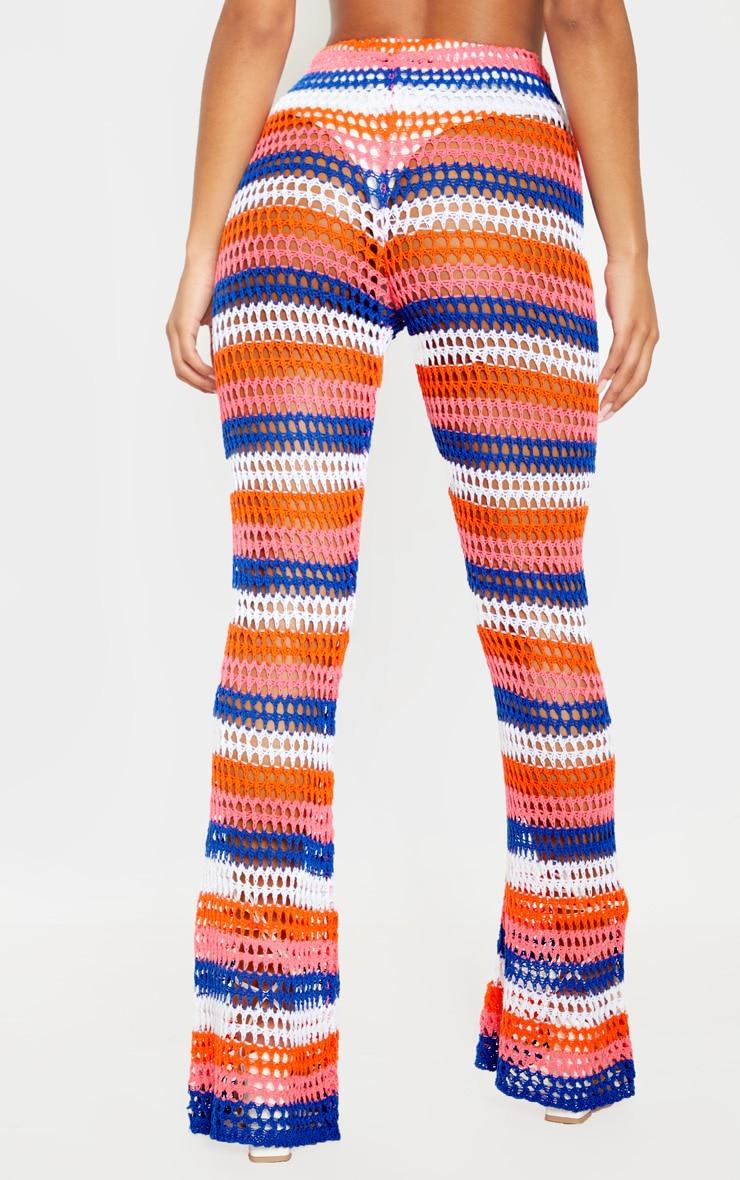 Pantalon en crochet à rayures multicolores 4