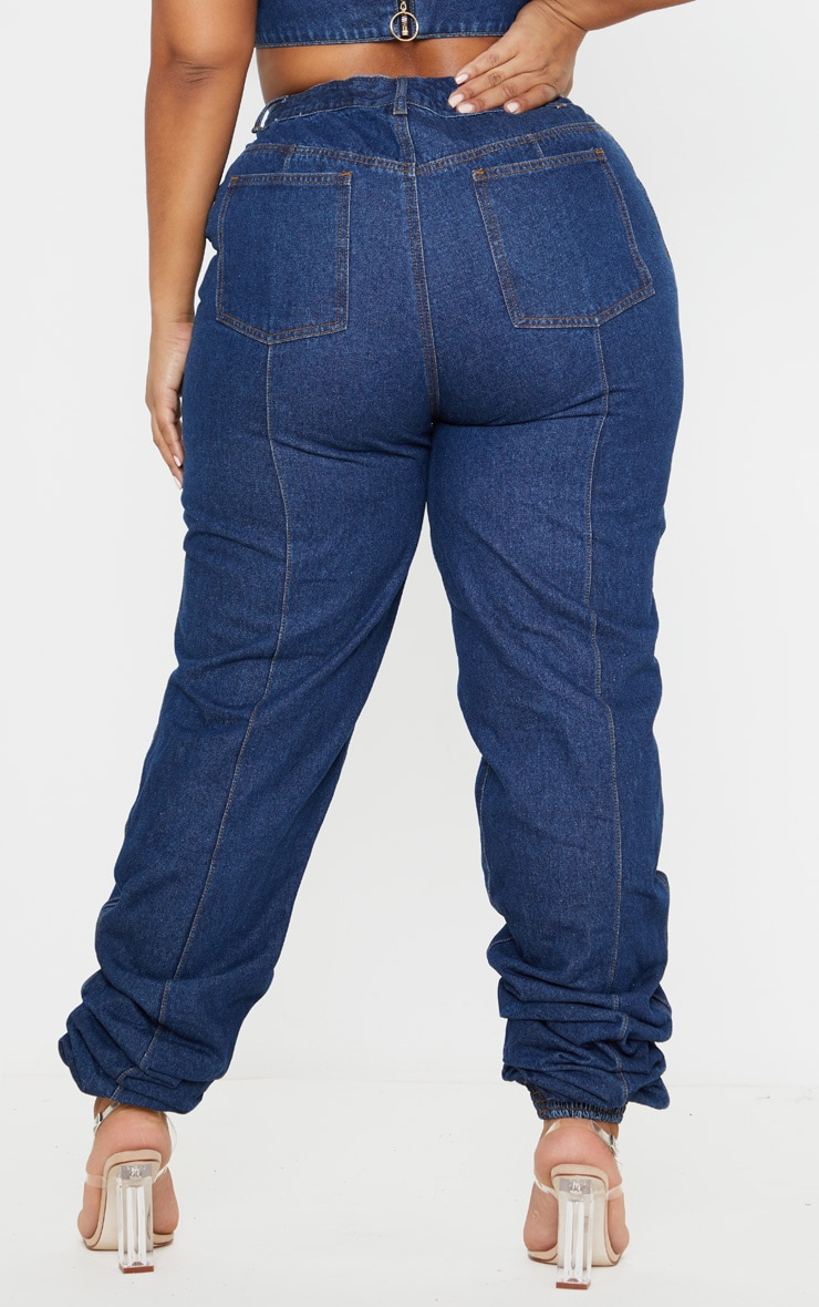 Plus Mid Wash Denim Elasticated Hem Jeans 4