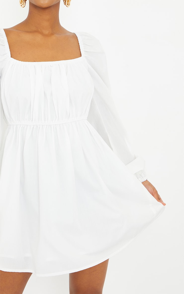 Petite White Ruched Balloon Sleeve Smock Dress 4