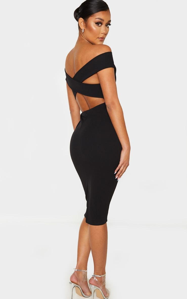 Black Bardot Cross Back Midi Dress 1