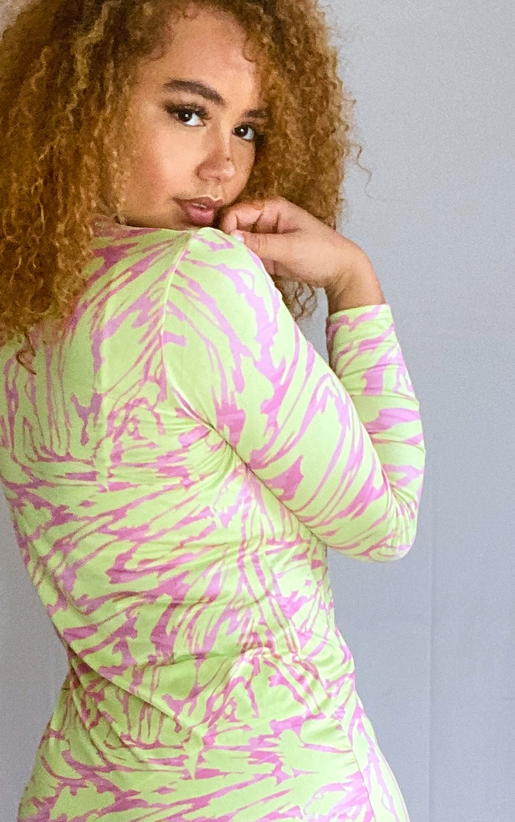 Plus Lime Abstract Print High Neck Long Sleeve Bodycon Dress 4