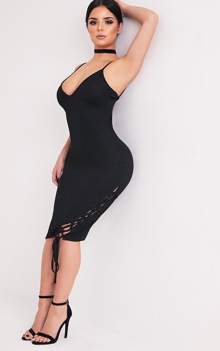Shape Hollie Black Lace up Side Midi Dress 4