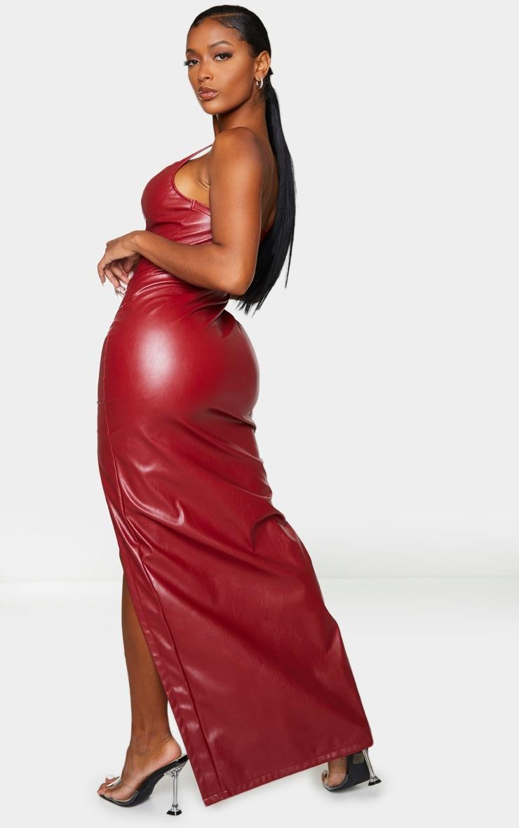 Shape Red PU High Split Maxi Dress 2
