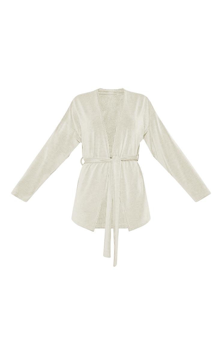 Cream Ribbed Belted Waist Cardigan 5