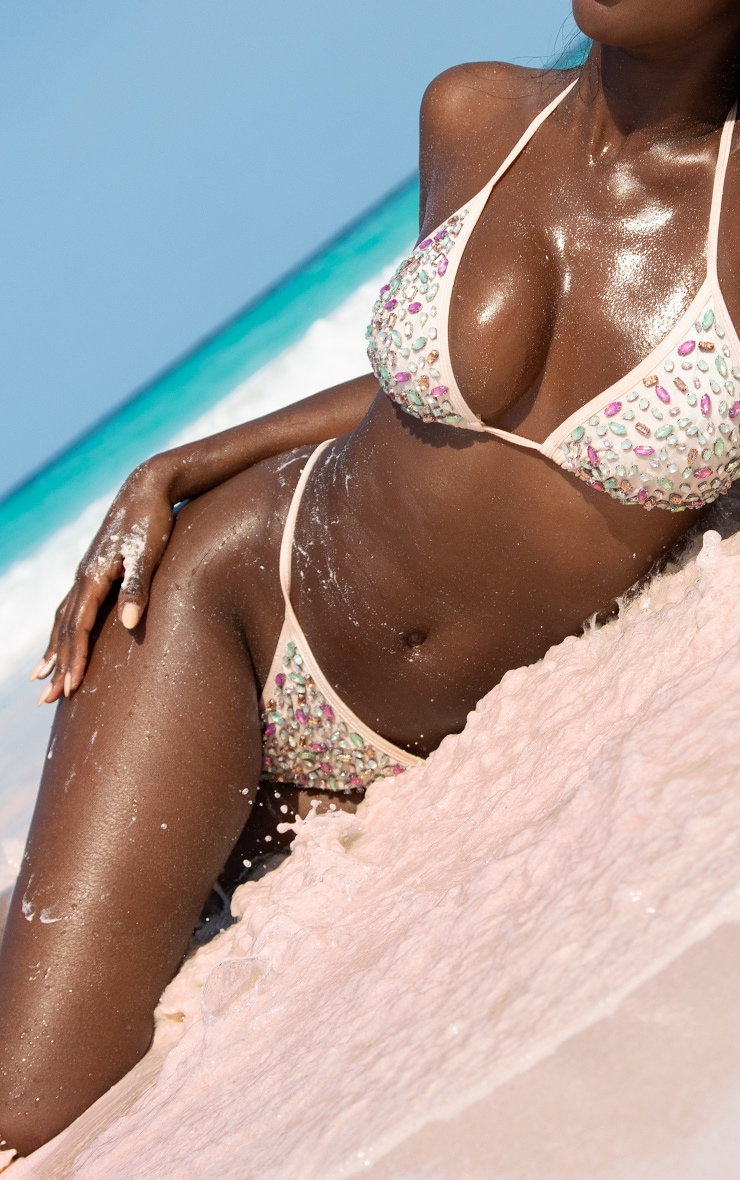 Pink All Over Jewelled Tanga Bikini Bottoms 1